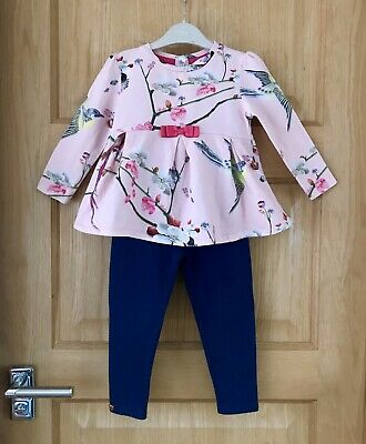 TED BAKER  *18-24m GIRLS PINK  FLORAL DRESS TOP LEGGINGS OUTFIT AGE 18-24 MONTHS