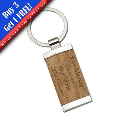 Personalised Engraved Bamboo Keyring with Metal Backing, The Perfect gift