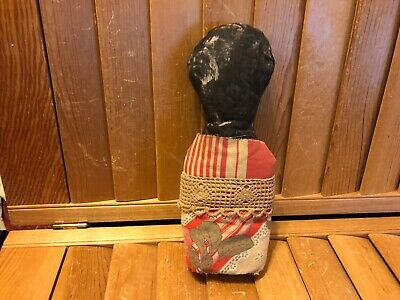 Primitive Grungy Rag stuffed  Stump Doll - vintage tablecloth - red