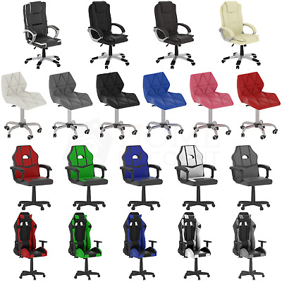 Racing Gaming Executive Chair Office Home Leather Swivel Wheels Computer Recline