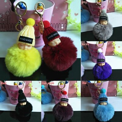 Accessories Cute Lovely Sleeping Baby Doll Keychain Faux Rabbit Fur Bag Pendant