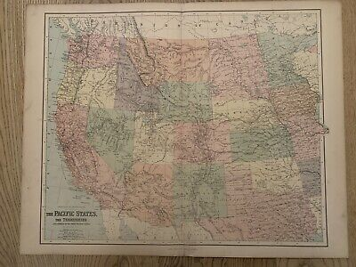 1883 WESTERN UNITED STATES LARGE MAP BY GEORGE PHILIP 69 cm x 54 cm