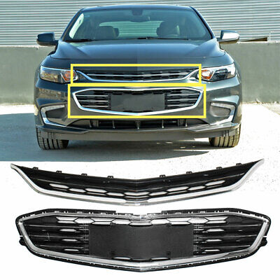 Honeycomb Mesh Chrome Front Bumper Upper & Lower Grille for Chevy Malibu 16-18