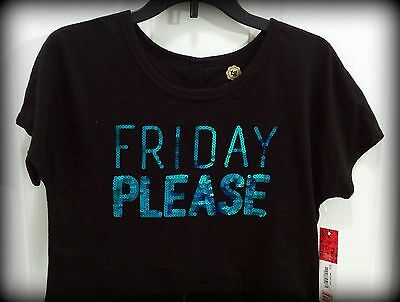 """NWT Total Girl """"Friday Please,"""" TQ Sequins on Black Cropped Tee, Girls Sz Sm 7/8"""