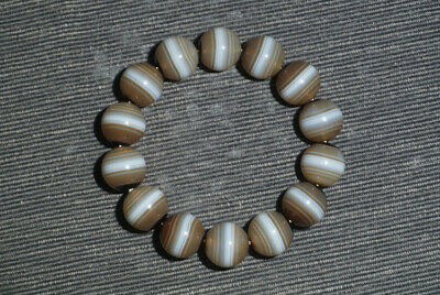 Chinese 100% Natural carved old agate brown wrapping wire beads lucky Bracelet