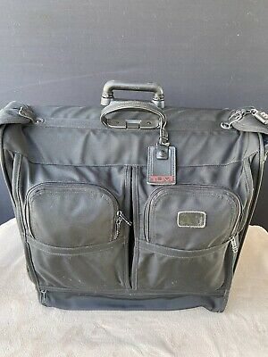 Used TUMI Black Alpha Wheeled Garment Bag 2233D3 Extended Trip Rolling Wardrobe