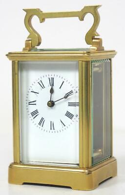 Antique French 8 Day Carriage Clock Brass Bevelled Cased French Mantel Clock