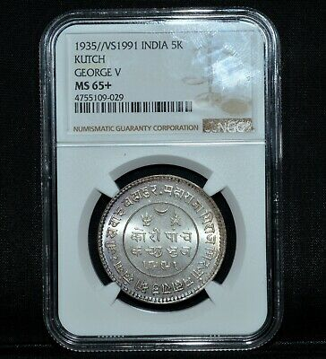 1935/Vs1991 India 5K Kutch ✪ Ngc Ms-65+ ✪ George V Gem Uncirculated ◢Trusted◣