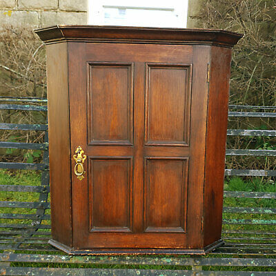 Victorian Panelled Oak Small Wall Hanging Corner Cabinet C19th