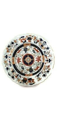 """Masons Patent Ironstone China 1830-1848 Rimmed Bowl 10.5"""" HP Red Blue Flowers"""