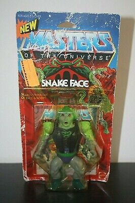Vintage Masters Of The Universe 1986 Snake Face With Opened Card