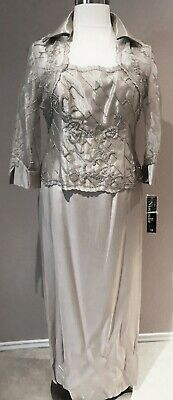 Mother of Bride Dress Formal Gown Collar Bolero Jacket Sleeves Beaded Silver 12