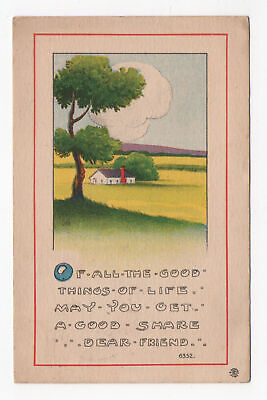 1916 Good Things In Life Postcard Arts & Crafts Style Bergman