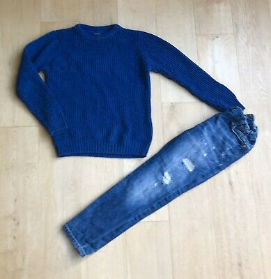 RIVER ISLAND NEXT *8y BOYS JEANS & BLUE JUMPER OUTFIT AGE 8 YEARS
