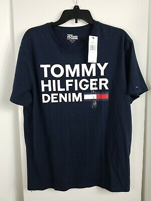 Tommy Hilfiger Denim Mens T-Shirt Crew Neck Graphic Tee Short Sleeve Flag Sz L