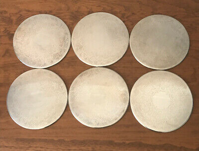 STRACHAN Silver Plated Vintage Placemats X 6 (20cm Diameter) (VGC)