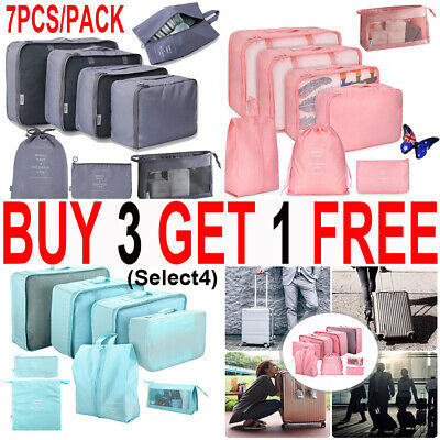 7x Packing Cubes Travel Pouches Luggage Organiser Clothes Suitcase Storage BagTH