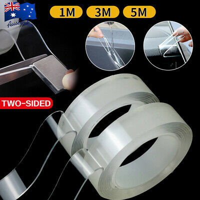 1/3/5M Nano Magic Tape Traceless double sided adhesive Craft Reusable Clear Gel