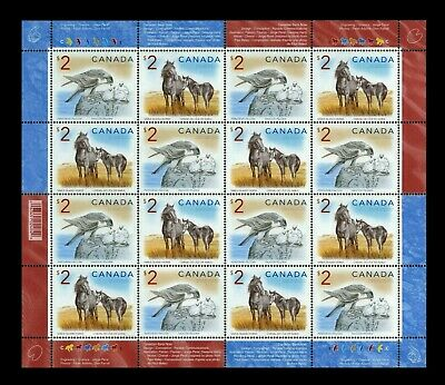 Canada Stamps — Full Pane of 16 — Wildlife: Falcon & Horse #1692a — MNH