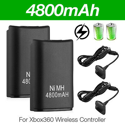 2 Pack Battery & Charger Cable for Microsoft Xbox 360 Wireless Controller Black