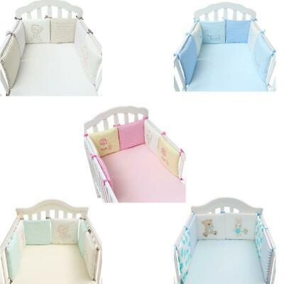 Baby 6 Pcs Crib Bumpers Infant Cot Breathable Cotton Bed Protector Bedding Set