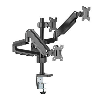 Short Arm Full-Extension Pole mounted Triple Gas Spring Monitor Arm Desk Mount B