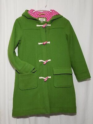 Mini Boden Girls Hooded Duffle Toggle Wool Pea Coat Green & Pink 9-10Y Excellent