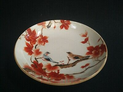 Collect Ancient China Porcelain Painting Flower Bird Plate Bowl Decoration Gift