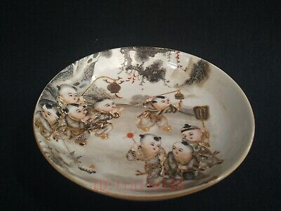 Collection Ancient China Porcelain Painting Lad Seasons Greetings Plate Bowl