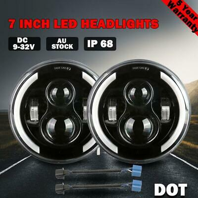 2x 7 inch Round LED Headlights for Jeep Wrangler TJ JK 97-17 Halo Angel Eyes