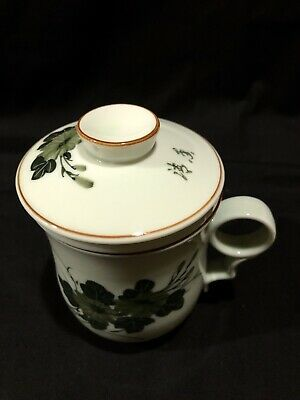 Chinese Celadon Green Porcelain Floral Design Tea Cup With Handle Infuser & Lid