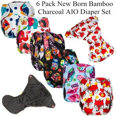 6 Pack Bamboo Charcoal  Reusable Waterproof New Born AIO Diaper fit 0-6kgs Baby