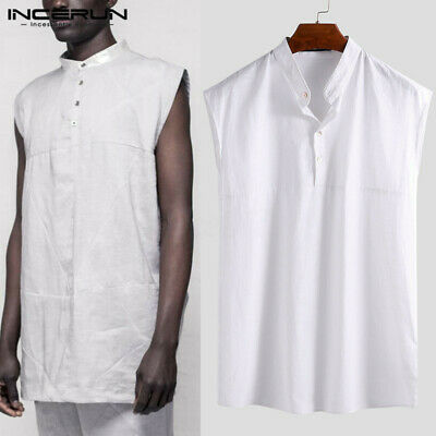 FR 100% coton hommes sans manches col chemise casual cool top plage vacances tee