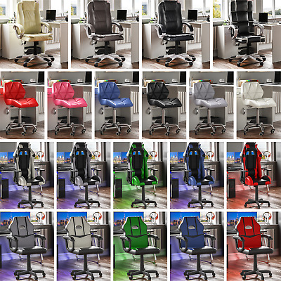 Racing Gaming Executive Chair Office Home Computer Swivel Wheels Leather Recline