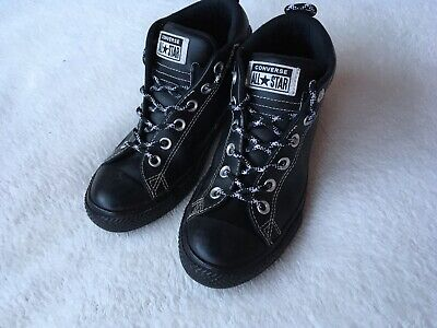 Converse All Star Size 4 (37) Black Leather Sneaker Boots ⭐️Great Condition ⭐️