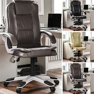 Executive Office Chair Computer Gaming Home Leather High Back Adjustable Swivel