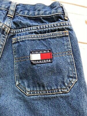 Tommy Hilfiger Jean Shorts Boys Size 14 Red White Blue Cotton Dungarees Dark