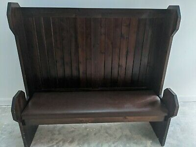 Antique Pine pub settle bench church pew boot room hallway high back wooden seat