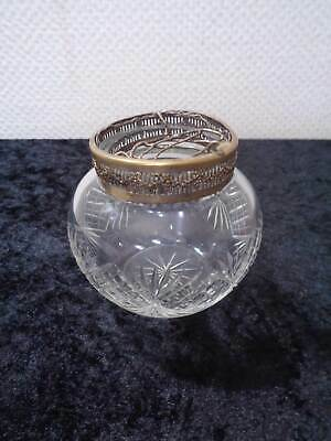Antique Nouveau Crystal Glass Blumensteckvase Brass Fitting Vintage around 1910