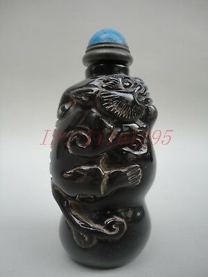 Collection China Tibet Old Cow Horn Hand-carved Unicorn Snuff Bottle Decoration