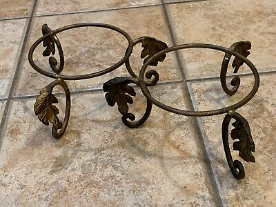 Vintage 3-Legged Footed Wrought Iron Pair Set Lot 2 Leaf Bowl Plate Stands Gold
