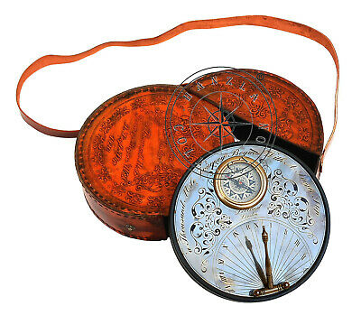 """7"""" Antique Brass Sundial Compass With Leather Case Steampunk Marine Replica Gift"""