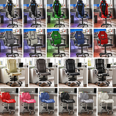 Racing Gaming Executive Chair Office Home Leather Reclining Rotating Computer