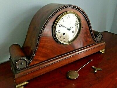 ** Large Antique Flame Mahaogany French Clock * Superb Quality *