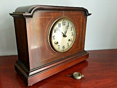 ** Large Antique Mahaogany Inlaid Striking Clock * Good Quality *
