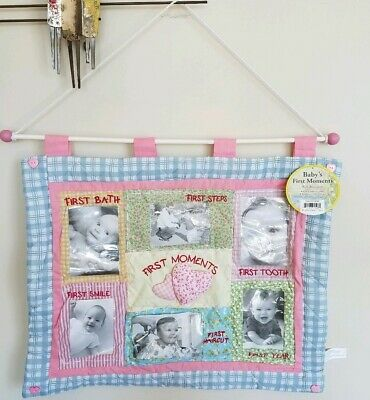 Baby Quilt Babys First Moments Photos Nursery Quilted Wall Hanging 25 x 20 New