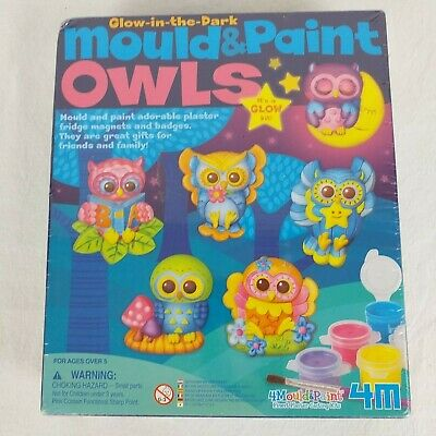 Glow In The Dark Mould Paint Owls Arts Crafts Magnets Badges Kids Childs Toy