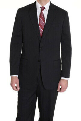 Men's Suit Alfani Men's Modern Two Button Striped Wool Suit Jacket 44R Black