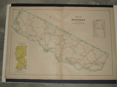 Seekonk, Ma.,  1895 Map Removed From Everts & Richards Atlas, Not A Reprint