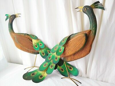 VINTAGE RARE Pair 1965 Masketeers Peacocks Wall Hangings Large Mid-Century Deco